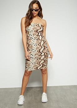 Snakeskin Tube Top Mini Dress