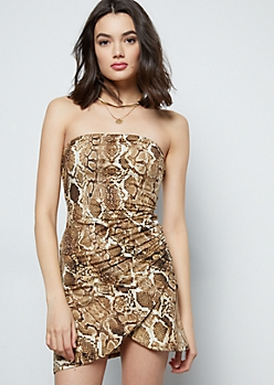 Snakeskin Super Soft Ruched Tulip Tube Dress