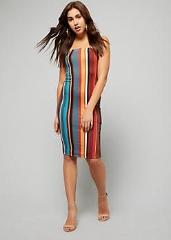 Orange Striped Strapless Midi Bodycon Dress