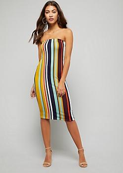 Black Striped Strapless Midi Bodycon Dress