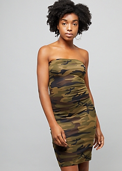 Olive Camo Print Soft Knit Strapless Bodycon Dress