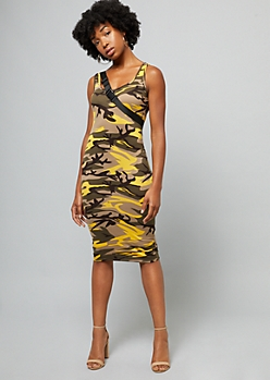 Yellow Camo Print Sleeveless Bodycon Midi Dress
