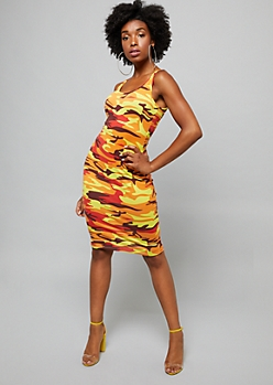 Orange Camo Print Sleeveless Bodycon Midi Dress