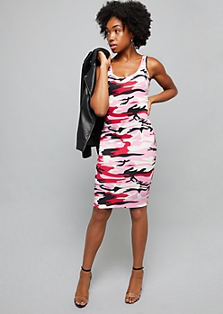 Pink Camo Print Sleeveless Bodycon Midi Dress