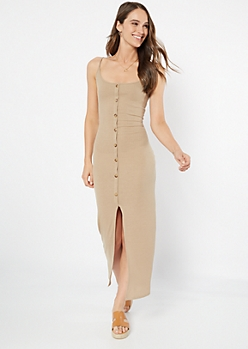 Taupe Front Slit Button Down Maxi Dress