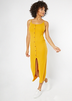 Mustard Front Slit Button Down Maxi Dress