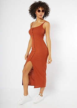 Burnt Orange Front Slit Button Down Maxi Dress