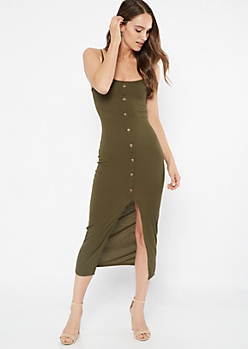 Olive Front Slit Button Down Maxi Dress