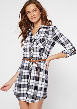 White Plaid Belted Shirt Dress