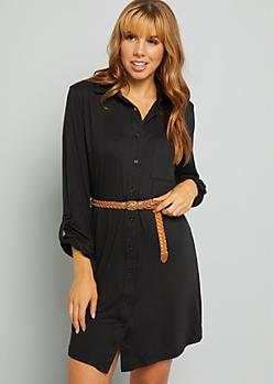 Black Belted Button Down Shirt Dress