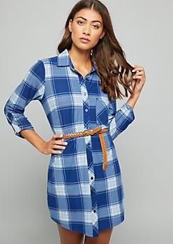 Blue Plaid Print Belted Button Down Dress