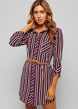 Dark Purple Striped Super Soft Belted Shirt Dress