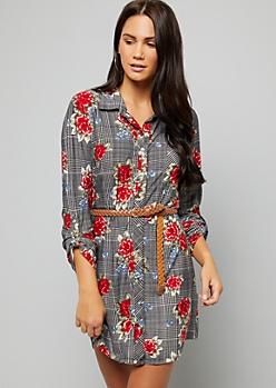Red Floral Houndstooth Print Super Soft Belted Shirt Dress