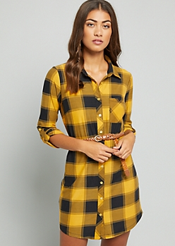 Yellow Plaid Pattern Super Soft Belted Shirt Dress