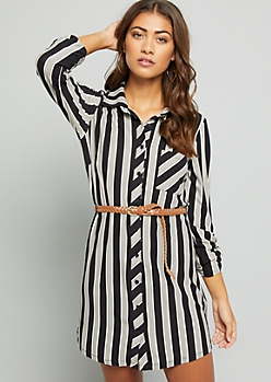 Black Striped Super Soft Belted Shirt Dress