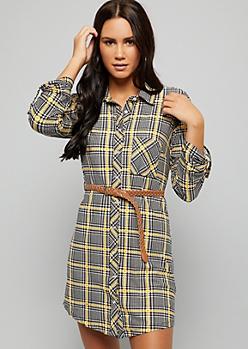 Black Houndstooth Plaid Print Super Soft Belted Shirt Dress