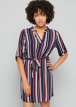 Navy Striped Rolled Tab Sleeve V Neck Shirt Dress