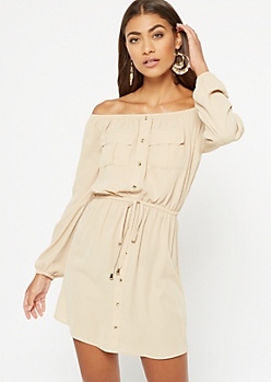 Taupe Button Down Off The Shoulder Dress