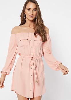 Pink Button Down Off The Shoulder Dress