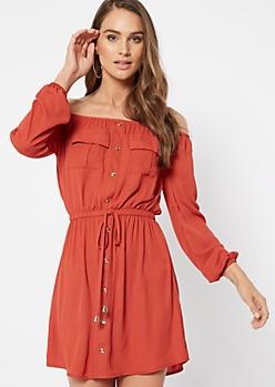 Burnt Orange Button Down Off The Shoulder Dress