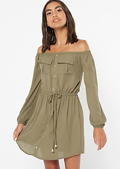 Olive Button Down Off The Shoulder Dress