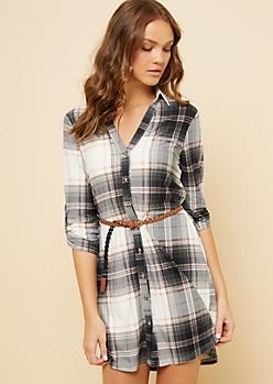 Black Plaid Pattern Super Soft Belted Shirt Dress