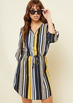 Gray Vertical Stripe Zip Front Shirt Dress