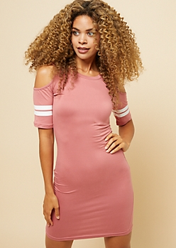 Pink Varsity Striped Cold Shoulder Bodycon Mini Dress