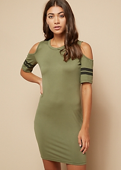 Olive Varsity Striped Cold Shoulder Bodycon Mini Dress