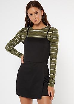 Black Mini Skort Dress