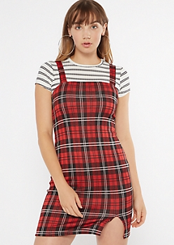 Red Plaid Square Neck Mini Dress