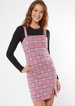 Pink Plaid Square Neck Pinafore Mini Dress