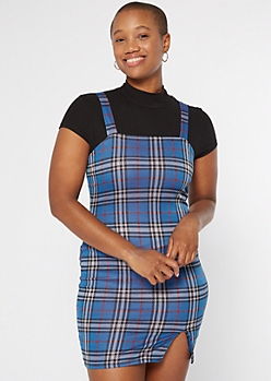 Blue Plaid Print Slit Side Skirtall Dress