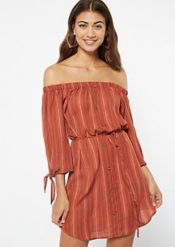 Burnt Orange Striped Off The Shoulder Mini Dress
