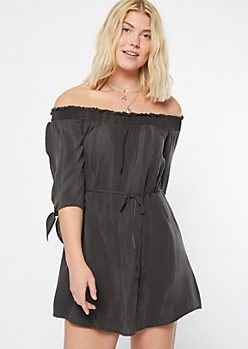Black Tie Off The Shoulder Dress
