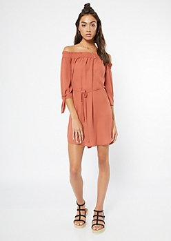 Peach Tie Off The Shoulder Dress