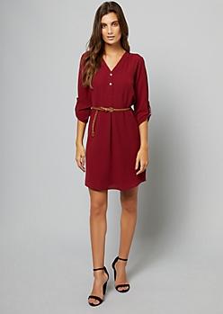 Burgundy Tab Sleeve V Neck Shirt Dress