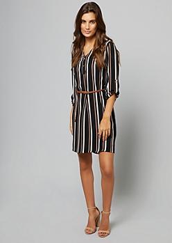 Black Striped Tab Sleeve V Neck Shirt Dress
