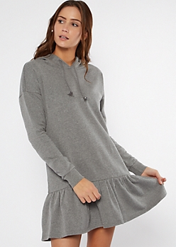 Heathered Charcoal Drop Waist Hoodie Dress