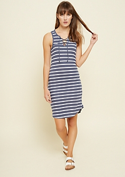 Navy Striped Lace Up Ribbed Knit Dress