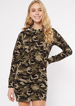 Camo Print Mini Hoodie Dress