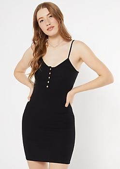 Black Ribbed Knit Button Down Tank Dress