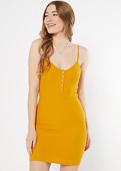 Mustard Ribbed Knit Button Down Tank Dress