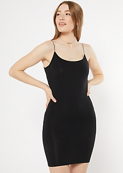 Black Bungee Strap Tank Dress