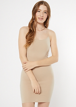 Taupe Bungee Strap Tank Dress