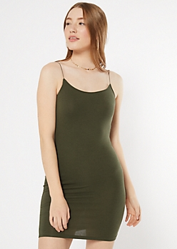Olive Bungee Strap Tank Dress