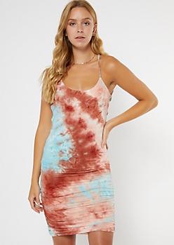 Burgundy Tie Dye Ruched Midi Dress