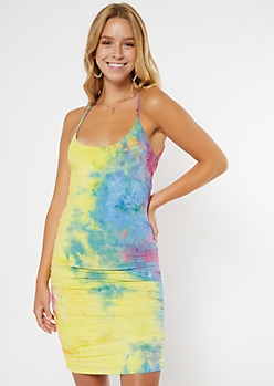 Bright Tie Dye Ruched Midi Dress