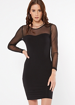 Black Illusion Mesh Neckline Bodycon Mini Dress