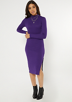 Purple Ribbed Knit Mock Neck Midi Dress